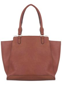 Dark Tan Snake Panel Tote Bag