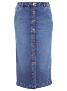 Mid Wash Denim Midi Skirt