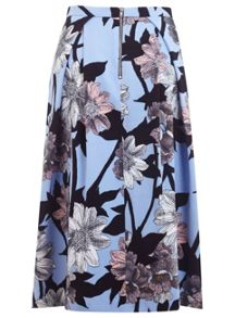 Graphic Floral Print Skirt