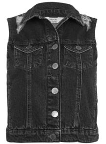 Black Distressed Denim Gilet