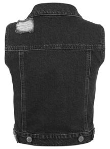 Miss Selfridge Black Distressed Denim Gilet