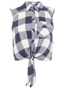 Tie check front shirt