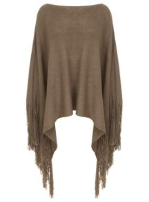 Camel Knitted Fringed Poncho