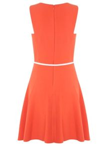Belted Notch Skater Dress
