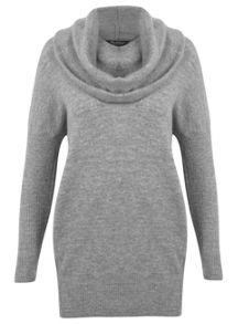 Grey Slouchy Cowl Neck Jumper