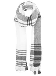 Monochrome Large Check Scarf