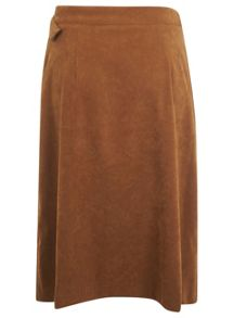 Suedette D-Ring Midi Skirt
