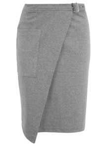 Grey Buckle Wrap Midi Skirt