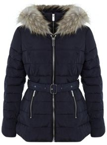 Navy Belted Puffer Jacket