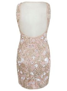 Petites Nude Embellished Dress