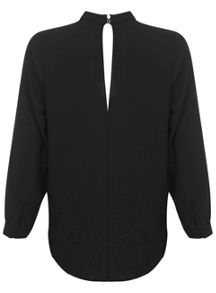 Black High Neck Drape Blouse