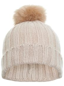 Miss Selfridge Nude Fur Pom Beanie Hat