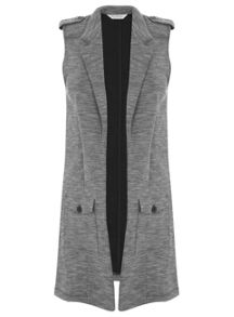 Grey Sleeveless Military Duster