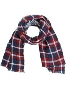 Burgundy Duo Check Scarf