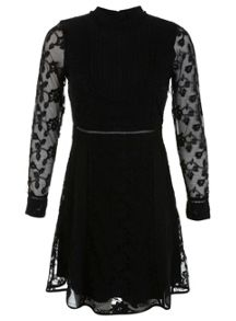 Pintuck Lace Dress