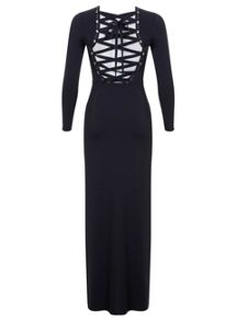 Miss Selfridge Navy Lace Up Back Maxi Dress