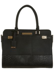 Miss Selfridge Black twist lock tote bag