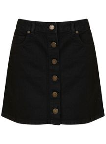 Miss Selfridge Black Denim Skirt