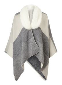 Cream colour block fur cape