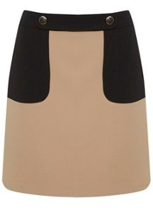 Colourblock Button Mini Skirt