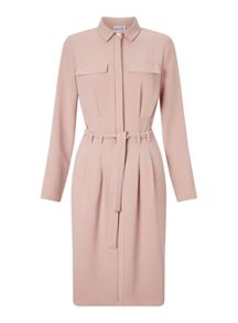 Miss Selfridge Nude Tie Waist Shirt Dress
