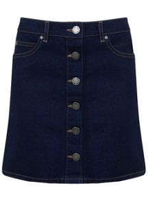 Miss Selfridge Indigo Button Through Denim Skirt