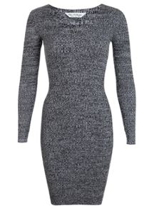 Miss Selfridge Grey V Neck Knitted Dress.
