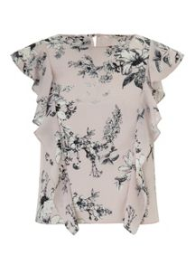 Miss Selfridge Printed Ruffle Shell