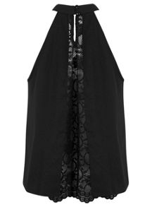 Black High Neck Lace Shell