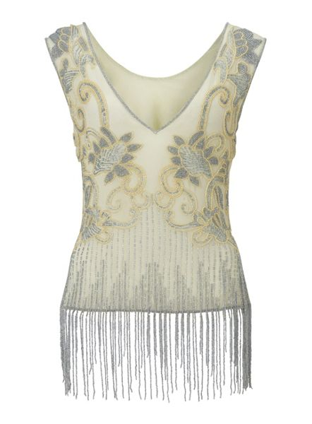 Miss Selfridge Embellished Fringe Top