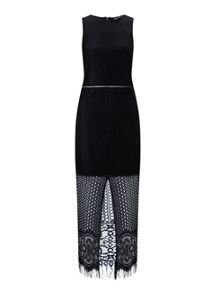 Miss Selfridge Lace With Mesh Insert Maxi