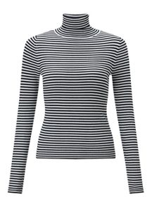 Miss Selfridge Black White Stripe Rib Jumper