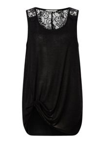 Miss Selfridge Black Lack Back Knot Cami