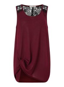 Burgundy Lace Back Knot Cami
