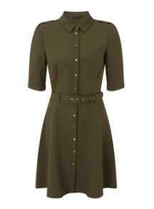 Miss Selfridge Khaki Half-Sleeved Shirt Dress