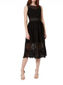 Miss Selfridge Black Mixed Lace Midi Dress