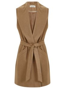 Miss Selfridge Camel Belted Sleeveless Coat