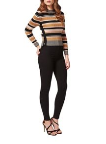 Petites Stripe High Neck Top