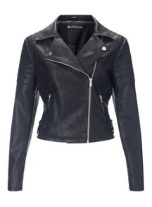 Miss Selfridge Black Faux Leather Biker