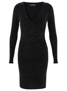 Miss Selfridge Glitter Wrap Front Dress