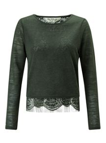 Miss Selfridge Khaki Lace Split Back Tee