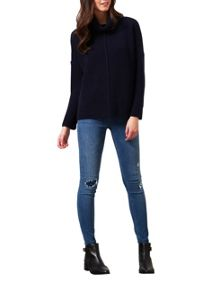 Miss Selfridge Navy Chunky Roll Neck Jumper