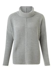 Grey Chunky Roll Neck Jumper