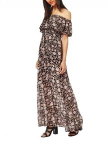 Miss Selfridge Printed Bardot Maxi Dress