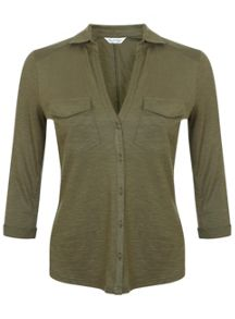 Miss Selfridge Khaki Jersey Shirt