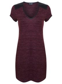 Miss Selfridge Burgundy Pu Trim Tunic Dress