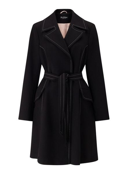Miss Selfridge Black Contrast Stitch Coat