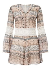 Miss Selfridge Printed Lace Insert Playsuit