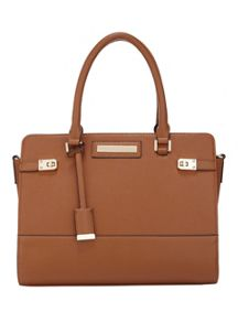 Miss Selfridge Tan Twist Lock Tote Bag