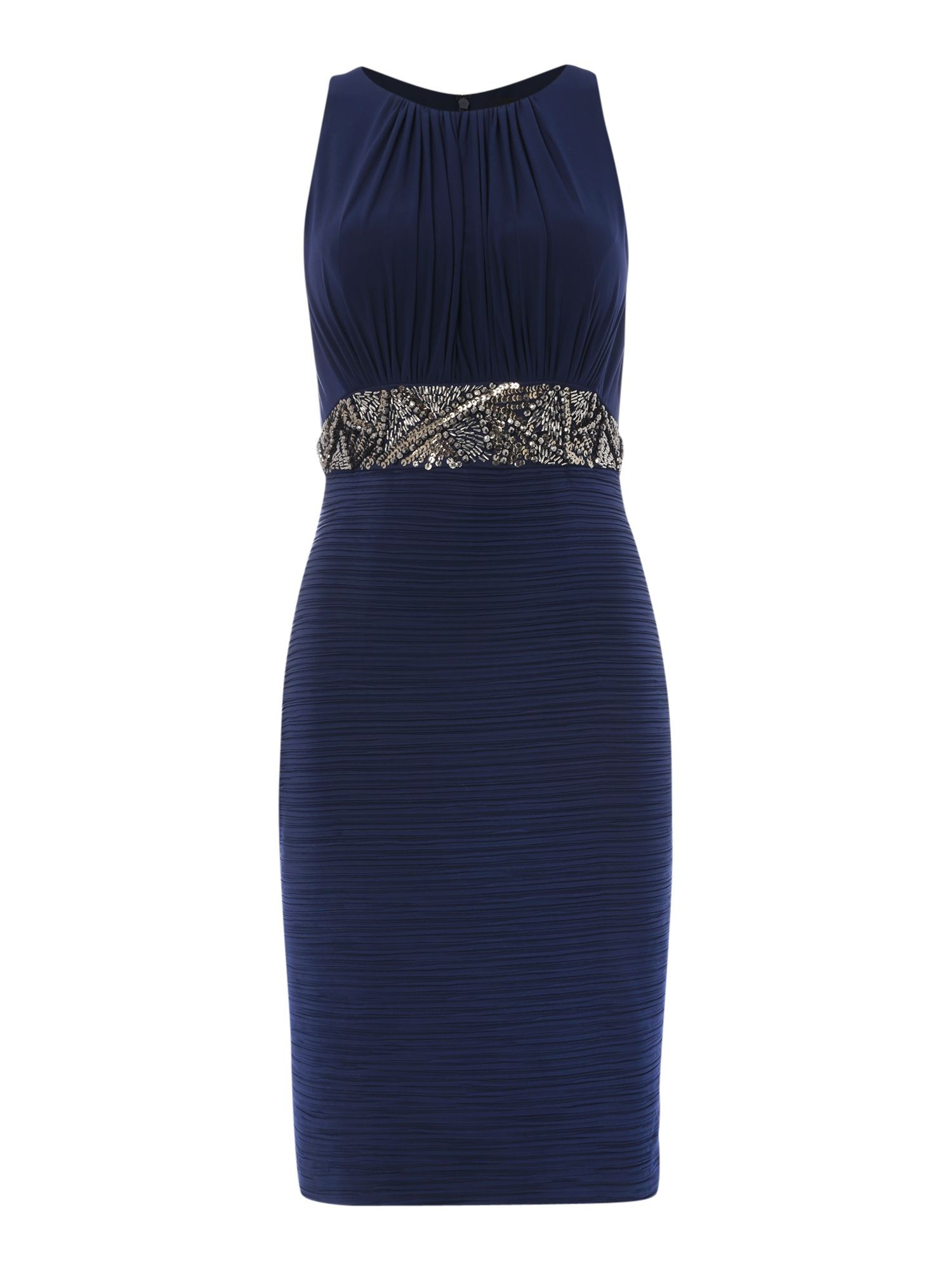 JS Collections Beaded waist dress with pleated skirt, Blue
